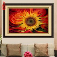 Wholesale Sunflower Oil Painting Canvas - YGS-359 DIY 5D Diamond Embroide The Beautiful Sunflower Round Diamond Painting Cross Stitch Kits Diamond Mosaic Home Decoration