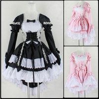 Wholesale Dress For Girl S - Halloween Costume For Women Girls Sexy Sweet Gothic Lolita Dress Sissy Maid Uniform Anime Maid Cosplay Costume