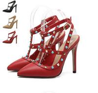 Wholesale Gem Shoes - 2017 Plus size T strap pointed toe buckle strap rivets shoes with gem women pumps big size 35 to 40 41