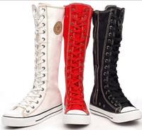ingrosso stivali alti di cannaio-scarpe di tela di colore puro delle cerniere laterali del venditore caldo di trasporto libero del grossista con gli stivali di canister alti piatti scarpe di tela femminili 205