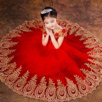 Wholesale Performance Images - Princess Ball Gown Red Lace Flower Girls Dresses for Weddings Birthday Communion Kids Stage Performance 2017 New Arrived Girls Pageant Gowns