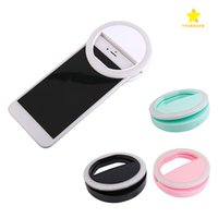 Lámpara Portátil Iphone Baratos-Portátil Universal Selfie Ring Flash Lamp Teléfono móvil LED de luz de relleno Selfie Ring Flash Lighting Camera Photography para Iphone Samsung