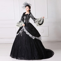 Wholesale Marie S - Real Photo Luxury 2017 Black Printed Square Collar Long Flare Sleeve 18th Century Southern Belle Marie Antoinette Dress