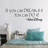 Wholesale Study Quote - Wholesale- inspiration quote Dream It You Can Do It words home decor wall sticker classroom study room decoration mural art stickers