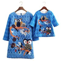 Wholesale Owl Kids Clothes - Matching Mother Daughter Dresses 2017 New Kids Girls Cartoon Owl Print Dress Women Party Dress Mom Girls Three Quarter Dress Family Clothing