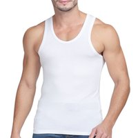 Wholesale Slim Fit 3pcs - Wholesale- 3PCS Men Undershirts Vest Singlet Tank Top New Vest Male Summer Elastic Tight-fitting 100% Slim Sleeveless Undershirts