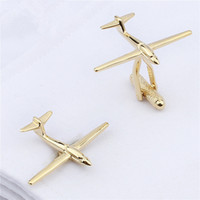 Wholesale Metal Cufflink Tie Set - Simple Design Gold Plated Plain Metal Airplane Shaped Trendy Style Men Jewelry Cufflinks Wedding Business Dress Shirt Button