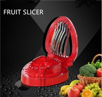 Wholesale Metal Cake Cutter - New created kitchen tools Strawberry Slicer Plastic Fruit Carving Tools Salad Cutter Berry Strawberry Cake Decoration Cutter