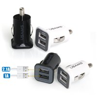 En gros 500 pcs / lot 3.1A USAMS double port usb chargeur de voiture 5 V 3100 mah pour iPhone iPAD ipod samsung htc