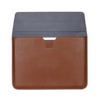 dizüstü bilgisayar taşıma çantaları toptan satış-Macbook Laptop için Premium PU Deri Kılıf Taşıma Çantası Apple MacBook 12 13 15 inç Hava Pro Retina Yumuşak Kol Darbeye Zarf Çanta
