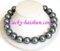 Wholesale tahitian black pearls china - Free Shipping***20mm 100% Tahitian black south sea shell pearl necklace