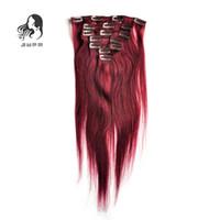 düz kırmızı saç uzantıları toptan satış-JUFA Brezilyalı Düz Saç Tam Başkanı Klip İnsan Saç Uzantıları 100g # 99J Kırmızı Şarap Brezilyalı Remy İnsan Saç Uzantıları Klip 7 ADET