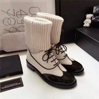 2017Hot Blanc Bottes D'hiver Femmes En Cuir Véritable Chunky Casual Chaussures Chaîne Pompes Luxurious Marque Cuisse Boosts