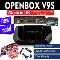 Wholesale Satellite Box Wholesalers - Genuine V9S DVB-S2 HD Satellite Receiver Wifi Build in Openbox IPTV Set Top BOX support CCCAMD NEWCAMD Weather Forecast Miracast Stock in UK