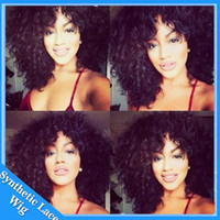 Wholesale Short Afro Curl Wig - Free shipping 1b heat resistant fiber afro kinky curl wig short bob kinky curly synthetic lace front wig fluffy wigs for black women
