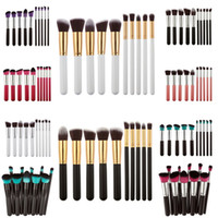 Wholesale Wholesale Nylon Brush - 10Pcs=1Set Professional Makeup Brushes Set Make Up Powder Brushes Maquillage Beauty Cosmetic Tools Kit Eyeshadow Lip Brushes #BSEL