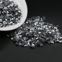 hot fix silver achat en gros de-DMC Hotfix Silver Hematite strass rond SS6, SS10, SS16, 1440pcs / lot, fer à repasser sur pierres de strass en cristal Hot Fix (Pierres de diamant diamant