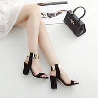 Chunky Heel black gold peep toe - There are yards Europe and the United States gold magic stick around the foot peep toe ultra thick with sandals with a word