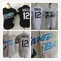 Wholesale Men Throws - Men's Tampa Bay Rays #12 Wade Boggs Gray black whiteback Cooperstown Collection Stitched Road Throw MLB Mitchell & Ness baseball Jersey
