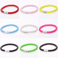 Wholesale 6mm Braided Leather Bracelet - Top Quality 6mm Braid Pu Leather Bracelets Leather Bangles 18 20 22cm 3 colors jewelry factory price