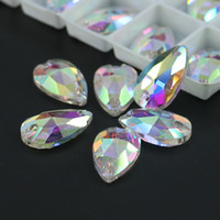 Wholesale Sew Glass - Crystal AB Teardrops Sew On Rhinestone All Size Glass Flatback Fancy Sew-on Stone R3230 50pcs per bag