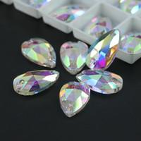 teardrop taschen großhandel-Crystal AB Teardrops Strass aufnähen Alle Größe Glas Flatback Fancy Aufnäher R3230 50 stücke pro beutel