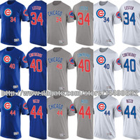 Wholesale Shirts Size 44 - Chicago Cubs 2017 MLB T-Shirt Mens Youth 44 Anthony Rizzo 34 Jon Lester 40 Willson Contreras Custom Baseball Jersey Size S-4XL