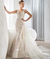 Wholesale Demetrios Detachable - Newest Ivory Wedding Dresses With Detachable Train Covered Button Sleeveless 2015 Court Train Bridal Gowns Ivory Demetrios Bride Dress 2017