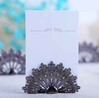 Wholesale Peacock Place Cards - 20pcs Peacock Shape Name Number Menu Table Place Card Holder Clip Wedding Baby Shower Party Reception Favor