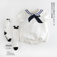 Wholesale set army boy online - INS hot styles New Arrivals baby kids sets climbing romper pet pan collar long sleeve army style baby kids cotton boy girl romper