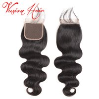 Wholesale Cheap Good Hair Extensions - Body Wave Brazilian Hair Weaves 4x4 Closure Unprcoessed Human Hair Extensions Good Cheap Mink Brazlilian Body Wave Closure