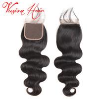 iyi brazilian dokuma saç toptan satış-Vücut Dalga Brezilyalı Saç Örgüleri 4x4 Kapatma Unprcoessed İnsan Saç Uzantıları İyi Ucuz Vizon Brazlilian Vücut Dalga Kapatma