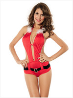 Wholesale Santa Dress Adult - Adult Red Cosplay Santa Clause Women Party Sexy Dress Women Baby Dolls Sexy lingerie Halloween Party Sexy Teddies