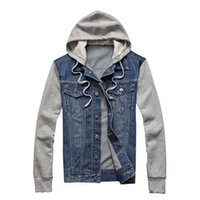 Мужская мода Denim Hoodie Men Jacket Jean Cotton Blend Patchwork Retro Vintage Autumn Hip-hop Winter Fall Tops Пальто Плюс Размер