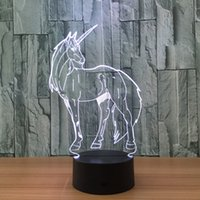 3D Unicorn Illusion Lamp Night Light DC 5V USB cobrando bateria AA Atacado Dropshipping Free Shipping Retail Box