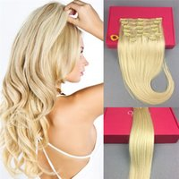 Wholesale Blonde Long Hair Styles - Clip in Remy Human Hair Extensions Full Head 8 Pieces Set 20inch 130g Long Straight Very Soft Style Real Silky for Fashion Women #613 Blonde