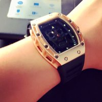 Wholesale Rectangular Stainless Steel - relogio masculino Transparent rectangular men watch top brand luxury watches black skeleton rose gold stainless steel fashion big Male clock
