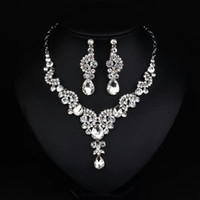 Wholesale Bridal Jewellery Sets Rhinestone - Luxury Crystal Rhinestone Necklace Jewellery Accessories Bridal Jewelry Necklace and Earrings Set For Prom Pageant Party Wedding EN920