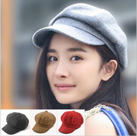 Wholesale Wool Painters Hat - 2017 New Fashion Unisex Wool Newsboy Cap solid Octagonal Winter Painter Hat 5pcs lot free Shipping