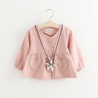 Wholesale Hanging Girls Neck - Cute Heart Pocket Girls Cardigans with Rabbit Hanging 2017 Kids Boutique Clothing Korean Little Girls Solid Color Outerwear