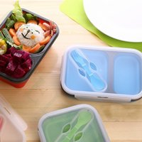 Wholesale Dinner Bucket - 16jr1 Two Parts Silicone Lunch Boxes Fold Lunchbox Transparent Cover With Spoon Dinner Bucket Durable Meal Case Silica Gel