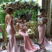 Wholesale Colour Lace Wedding Dresses - 2017 Cheap Choose Colour Bridesmaid Dresses Off Shoulder Mermaid Wedding Guest Wear Lace Appliques Plus Size Long Junior Maid of Honor Gowns