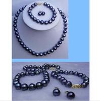 "Wholesale White South Sea Pearl Earrings - black TAHITIAN 9-10 mm SOUTH SEA Pearl necklace bracelet earring set 18"" + 7.5"""