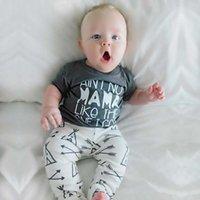novas roupas de bebê de chegada venda por atacado-Hot INS Baby boy clothing camiseta de manga curta + tenda calça Infantil Outfit 2 pcs Set 2019 verão New arrival lindo presente para as crianças do bebê