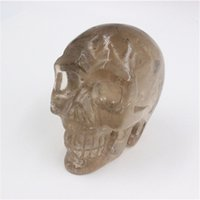 Wholesale Hand Carved Skull - Wholesale 300g - 1000g pure natural crystal tea crystal skull head pure hand-carved Reiki Crystal Healing Statue decoration Stone Skull