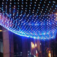 Wholesale 96 White Curtains Wedding - 1.5Mx1.5M 96 LED 220V Net Mesh String Light Led Strip Christmas Wedding Fairy Gaden Decorative Lights Holiday Lighting Garland