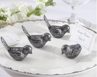 Wholesale Holder Favor Bird - DHL Freeshipping 100pcs Antiqued love Bird Place Card Holder wedding party table decor bridal shower favor favours gift