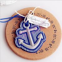 ingrosso regali di tema della spiaggia-Wholesale-50 PCS / set Tema spiaggia Anchor Tag bagagli favore di nozze bridal shower party regalo ospite presente favore