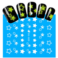 Wholesale Nail Art Stars - Wholesale- 1Sheets NEW Luminous Nail Stickers Star Pattern Glitter Nail Art Decals Manicure Tips Decoration DIY Fashion Accessories DG005
