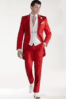 UK best groom wedding dress - Wholesale- Custom Design Red Tailcoat Groom Tuxedos Peaked Lapel Best Men's Wedding Dress Prom Holiday Suit(Jacket+pants+Vest)